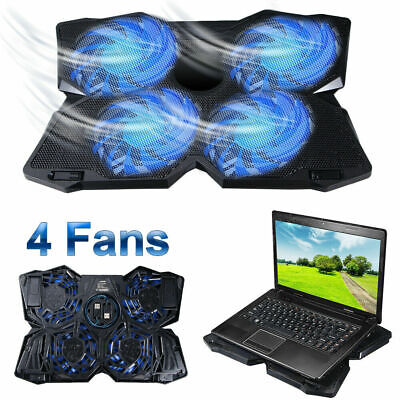 Game LED 4-Fan Advanced Laptop Notebook Cooler Cooling Pad Stand Dual USB Best