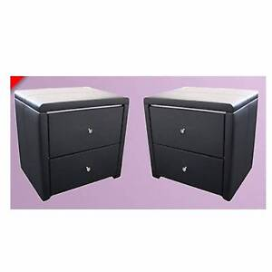BrandNew PU Leather 2 drawers Bedside Tables Cabinets Black/White Clayton South Kingston Area Preview