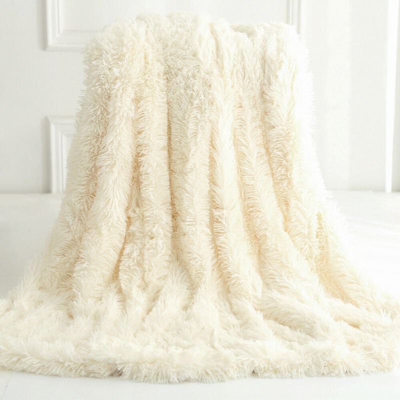 Reversible Faux Fur Blanket Soft Warm Fluffy Bed Sofa Throw Large Long Shaggy