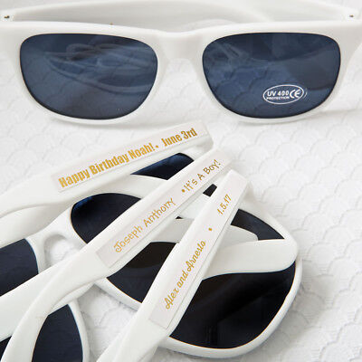 Beach Favors (40-200 Personalized Metallics White Sunglasses  - Beach Wedding Party)