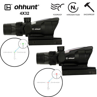 ohhunt 4x32 Shockproof Scope Horseshoe Reticle Real Fiber Optics TA51 Mount