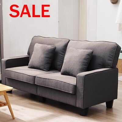Modern 2 Seater Sofa Fabric Sofa with Armrest Living Room Sofa Couch Settee