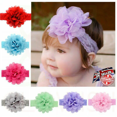Newborn Baby Girls Elastic Flower Headband Wedding Party Soft Lace Bow Headband