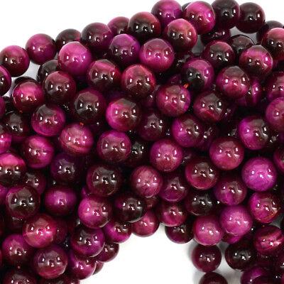 Tiger Eye Gemstone Beads - Magenta Tiger Eye Round Beads Gemstone 15.5
