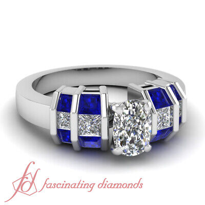 Grillwork Engagement Ring Channel Set 1.80 Ct Cushion Cut GIA Certified Diamond