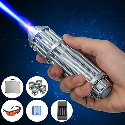 USA Stock High Power Blue Laser Pointer Burning Light 450nm Beam Pen + 5 Caps