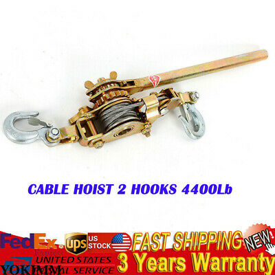 2 Ton Hand Puller Come Along Cable Hoist 2 Hooks 4400lb Heavy Duty Us Shipping