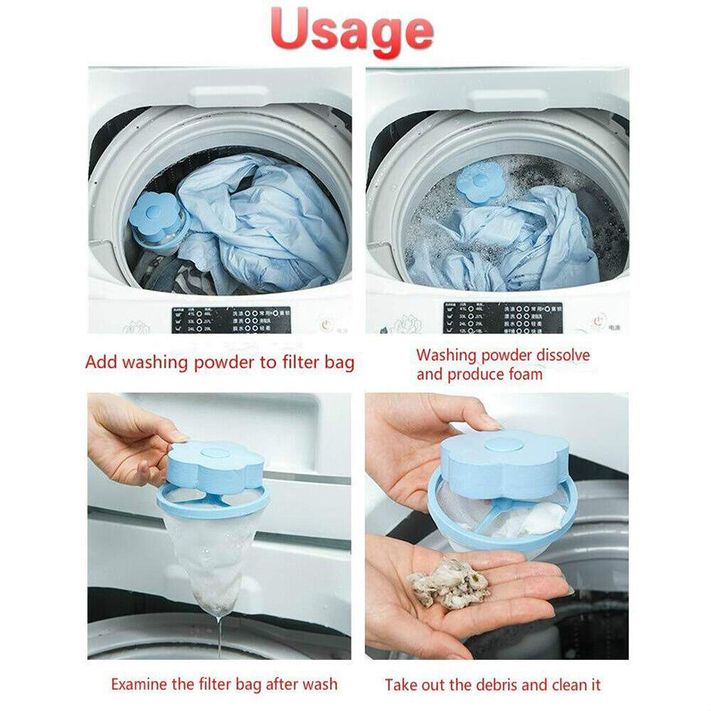 5X Floating Pet Fur Catcher Laundry Lint Pet Hair Remover For Washing Machine HU
