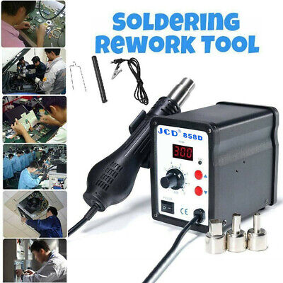 858d Soldering Rework Station Iron Desoldering Hot Air Gun Tool 3 Nozzles Us
