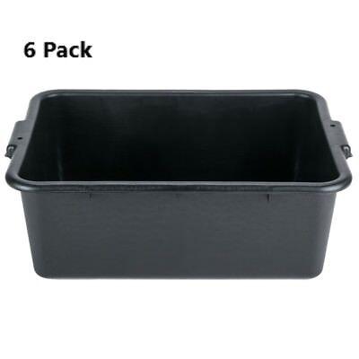 6 Pack 20 X 15 X 7 Black Polypropylene Bus Plastic Restaurant Dishwasher Tub