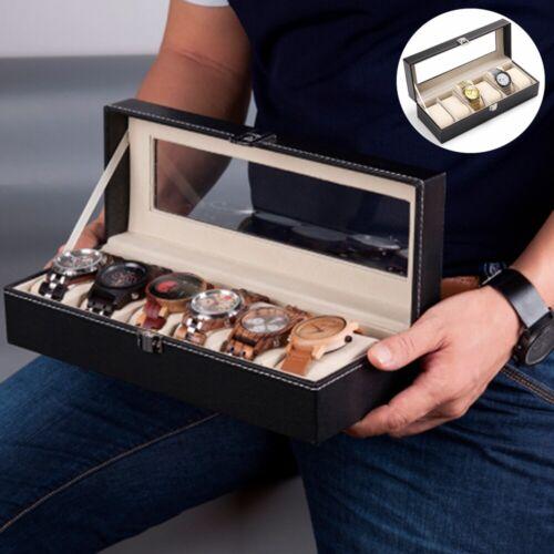 USA 6 Slot MEN Watch Box Leather Wrist Display Case Organize