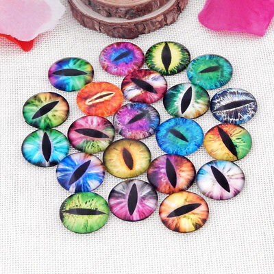 Crafts Supplies (10Pcs Round Dragon Eyes Glass Cameo Cabochons Jewellery Craft Supplies)