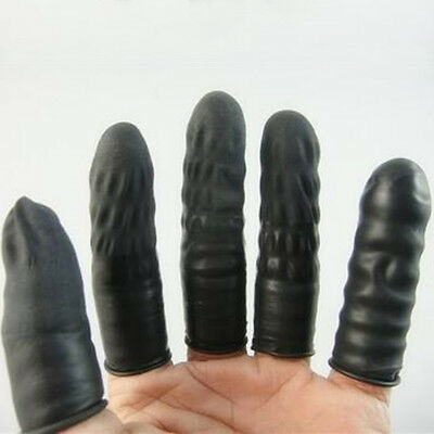 100pc Rubber Latex Fingertip Black Finger Cots Nail Protection G3