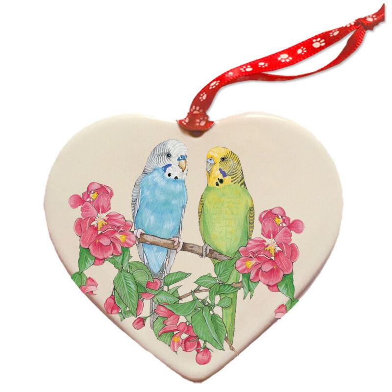 Parakeet Budgie Parrot Porcelain Pet Gift Heart Ornament