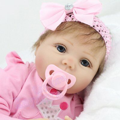 "Realistic Vinyl Reborn Baby Dolls Newborn 22"" Vinyl Silicone Girl Doll Handmade"