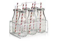 Set of 6 glass bottles in mesh milk crate - brand new