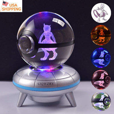 Mewtwo Pokemon 3D LED Crystal Pokeball Night Light Table Desk Lamp Crafts Gift  - Pokemon Table