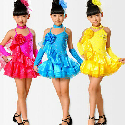 Girls Salsa Dance Dress kids Latin Dancing Ballroom Dancewear costumes for child