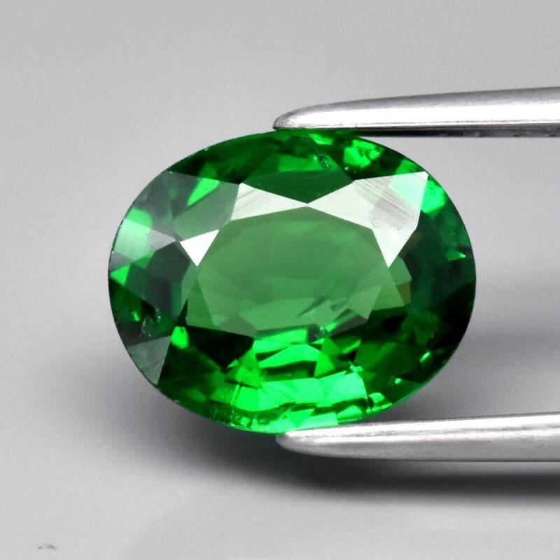 Top! 1.85ct 8.7x7.2mm Oval Natural Shocking Green Tsavorite Garnet, Tanzania