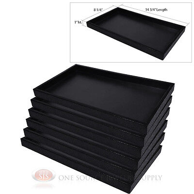 6 Black Plastic Display Sample Tray Jewelry Organizer Travel Stackable Trays