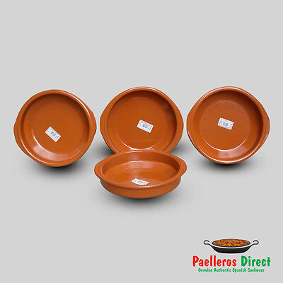 Set of 4 x 22cm Spanish Terracotta Tapas Dishes / Cazuelas