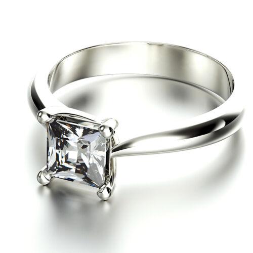 GIA Certified Asscher Cut Solitaire Diamond Engagement Ring 1.00 Carat 18k Gold