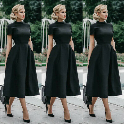 Women 1950s Vintage Black Midi Dress Evening Party Retro Formal Swing Dress Size