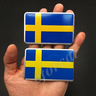 2x Aluminum Sweden Flag Car Emblem Badge Volvo Saab Motorcycle Fuel Tank Sticker for sale  China