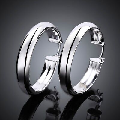 Polished 14K White Gold Plated Round Circle Large Hoop Loops Earrings Silver