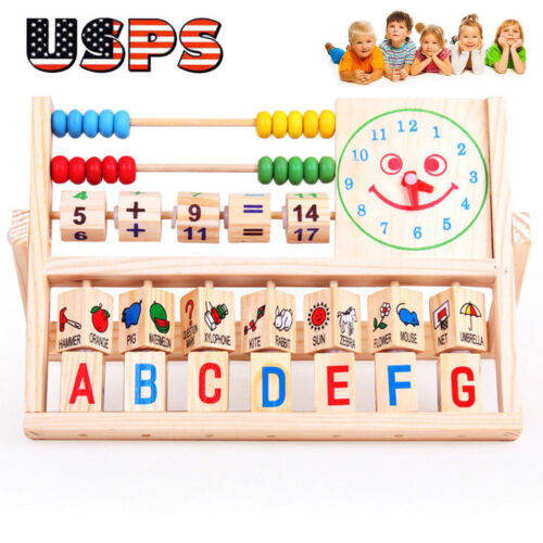 $0.01 - Children Baby Kids Learning Developmental Versatile Flap Abacus Wooden Toys USPS