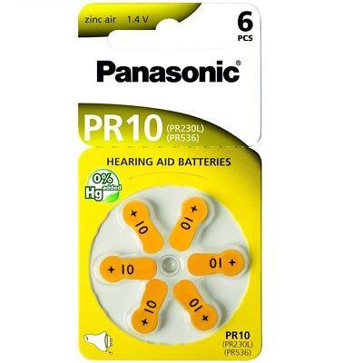 Pack 6 Pilas Boton Amarillo PANASONIC PR10 de 1,45V Blister Audifonos b87