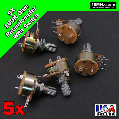 5x 100k Ohm Linear Taper Rotary Potentiometer B100k Won Off Switch Us 5pcs U50