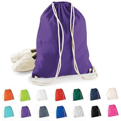 Baumwolle Damen Tasche (Westford Mill Zuziehbeutel Turnbeutel Sportbeutel Baumwolltasche Gymsac Sack)