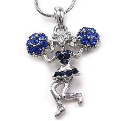 Blue Crystals High School Cheerleader Cheer Girl Pom Poms Pendant Necklace Charm Crystal Pom Poms