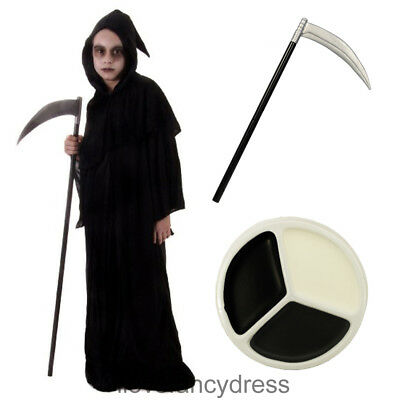 CHILDS REAPER COSTUME PLUS SCYTHE AND FACE PAINT BOYS HALLOWEEN FANCY DRESS (Boys Halloween Face Paint)