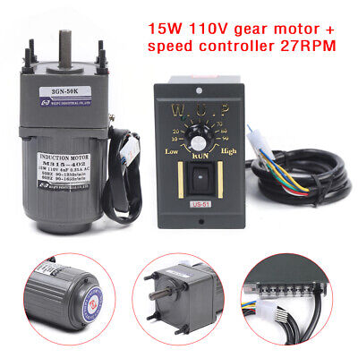 15w Gear Motor Electric Variable Speed Controller Torque Large 150 27rpm Ac110v