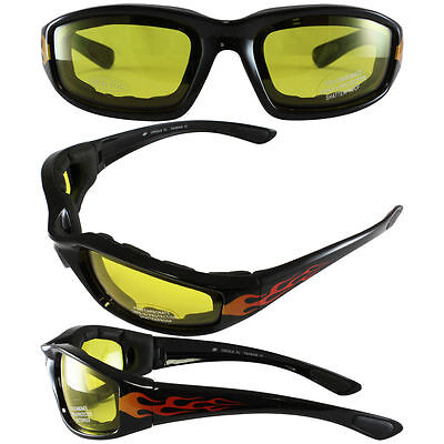 Flame Design Protective Motorcycle Glasses Yellow Sunglasses Horseback (Horseback Riding Sunglasses)