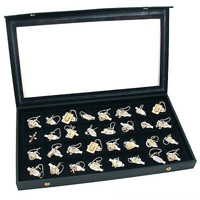 32 Earring Jewelry Display Case Clear Top Black New New Free Shipping