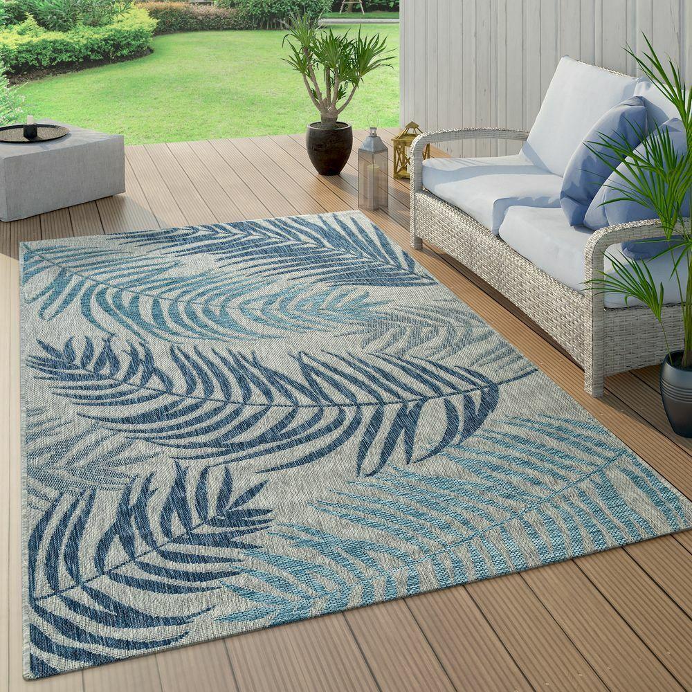 In- & Outdoor Teppich Flachgewebe Modern Jungle Palmen Design In Pastell Blau