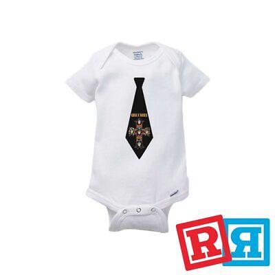 Guns N Roses Tie Baby Onesie GNR Slash Appetite Bodysuit Gerber Organic Cotton - Guns N Roses Bodysuit