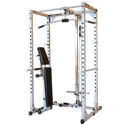 Powerline PPR200X Power Rack with PLA200X lat attach and PFID125X Weight Bench