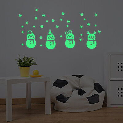 Christmas Glow Snowman Wall Stickers Living Room Luminous Window Shop Home Decor