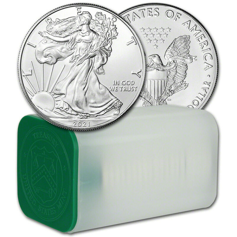 2021 American Silver Eagle 1 oz $1 - 1 Roll - Twenty 20 BU Coins in Mint Tube