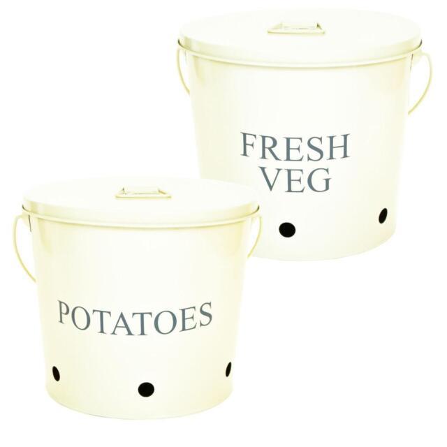 Retro Vintage Cream Enamel Potato Fresh Vegetable Kitchen Storage Bucket