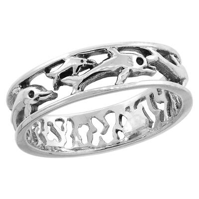 Sterling Silver Multi Dolphins Wedding Band Ring