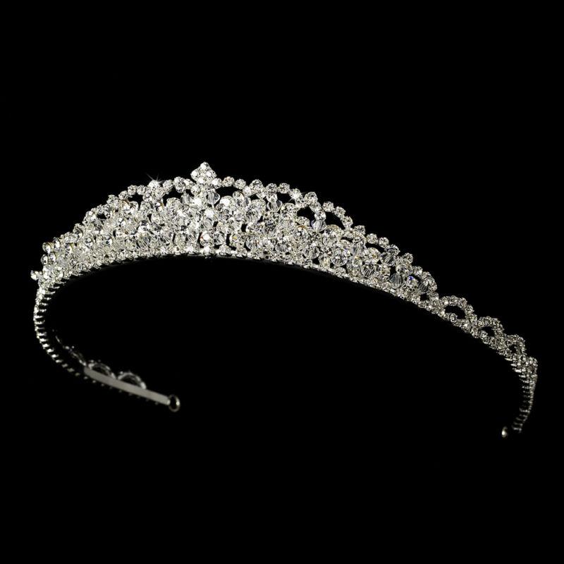 Silver Clear Swarovski Crystal Rhinestone Bridal Wedding Prom Pageant Tiara