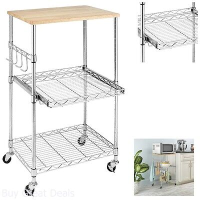 Whitmor Rolling Utility Cart - Kitchen Microwave Cart Storage Rolling Stand Shelf Utility Table Portable Rack