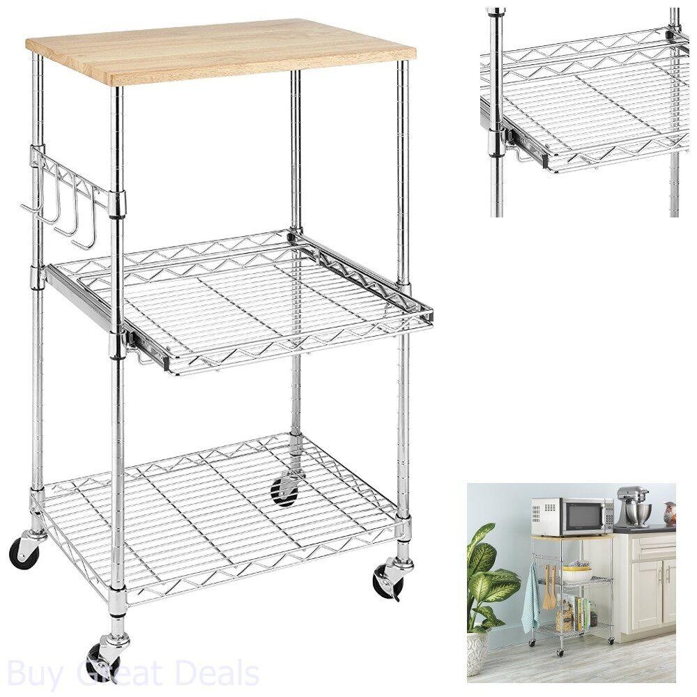 Kitchen Microwave Cart Storage Rolling
