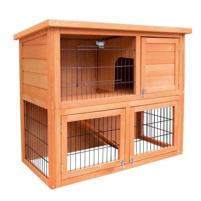 Rabbit Hutch Chicken Coop Guinea Pig Ferret Cage Hen House 2 Storey Run Wooden