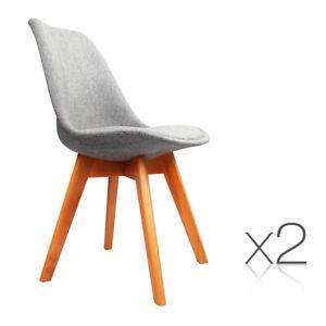 2 x Replica Eames Eiffel DSW Grey Fabric Retro Dining Chairs Beech Wood Leg